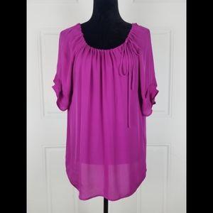 Joie Silk Top Medium Boho Short Sleeve Blouse